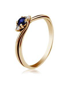 Золота каблучка «Евері» з сапфіром та діамантами для пропозиції