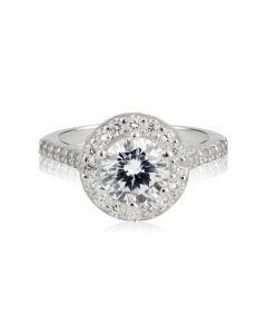 Золотое крупное кольцо с камнями Сваровски «Insta Queen»