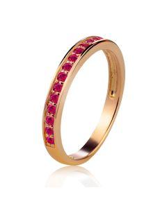 Золота каблучка з доріжкою рубінів «Вірність»