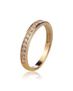 Золота обручка з доріжкою діамантів «Вірність»
