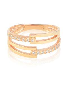 Золотое кольцо c двумя дорожками бриллиантов «Pallena»
