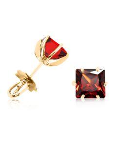 Золоті сережки гвоздики з пиропами «VIVA квадрат»