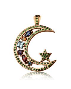 Золотой кулон с зеленым гранатом «Звезда и месяц»