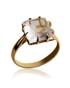 """Золотое кольцо с розовым кварцем """"Ida"""""""