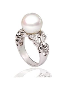 Золоте кільце з перлиною «Ніжна чарівність»