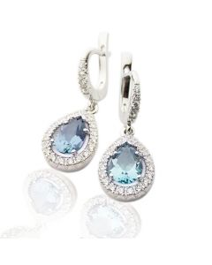 Золотые серьги с топазом и бриллиантами «Мечта»