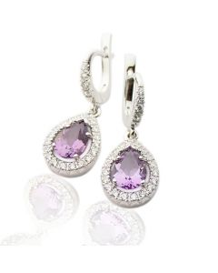Золоті сережки з аметистом та діамантами «Мрія»