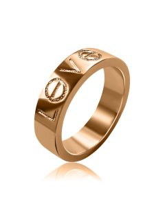 Золотое обручальное кольцо американка с гравировкой «LOVE»