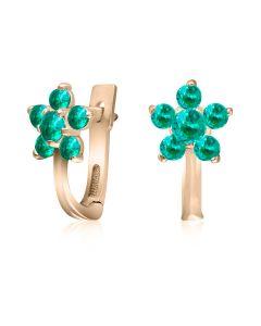 Невеликі сережки квіточки з золота з кольоровим цирконієм «Незабудки»