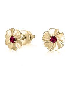 Золоті гвоздики для дівчинки з рубінами «La fleur»