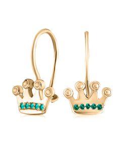 Сережки дитячі золоті з смарагдом «Юна принцеса»