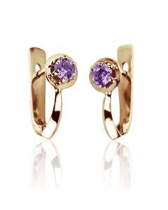 Золоті сережки з аметистами «Алессандра»