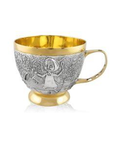 Чашка зі срібла з позолотою «Маша та медвідь»