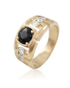 """Золотой перстень с чёрным бриллиантом  """"Фараон"""""""