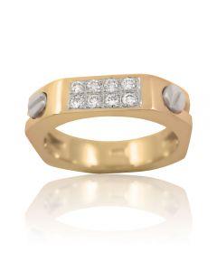 """Золотое кольцо с бриллиантом """"Стильный штрих"""""""