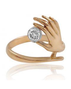 """Золотое кольцо """"Рука и сердце"""""""