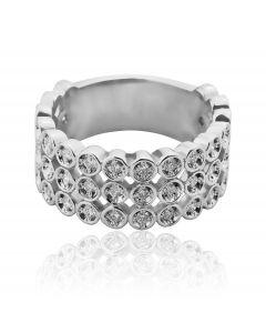 Золота обручка з розсипом діамантів «Скарб»