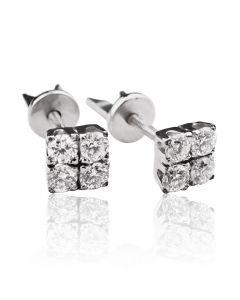 Золотые серьги гвоздики с бриллиантами «Сила Четырех»