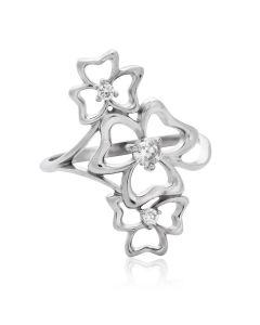 Золоте квіткове колечко з діамантами «Амелі»