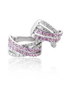 Золоті сережки з діамантами «Рожеві мрії»