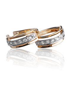 Золоті сережки з діамантовою доріжкою «Кира»