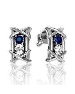 Золотые сережки с сапфирами и бриллиантами  «Splendid eve»