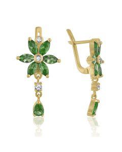 Золотые удлиненные серьги цветы с хризолитами «Чудесные»