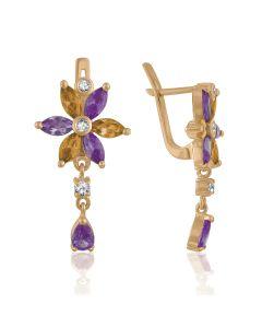 Золотые длинные серьги - цветы с аметистами «Чудесные»