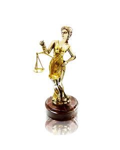 """Серебряная статуэтка с позолотой """"Фемида"""""""