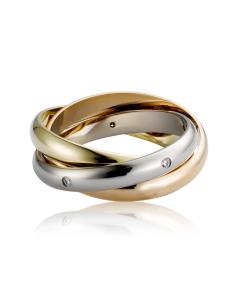 Золотое обручальное кольцо  бриллиантами «Тринити»