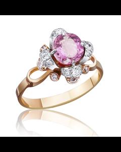 Золотое кольцо с розовым топазом