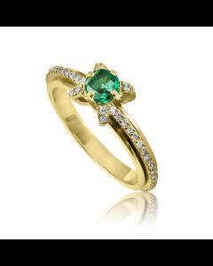 Золотое оригинальное кольцо с изумрудом «Венецианская ночь»