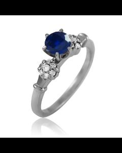 Золотое кольцо с сапфиром 0.5 ct и бриллиантами «Paris»