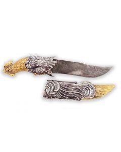 Серебряный охотничий нож с позолотой «Петух»