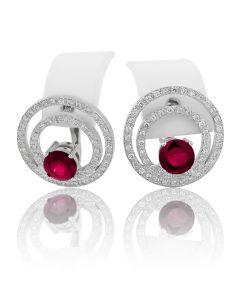Золотые серьги с рубином «Королева рубинов»