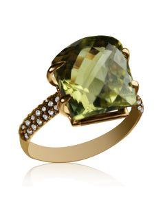 """Золотое кольцо с кварцем """"Gelly"""""""