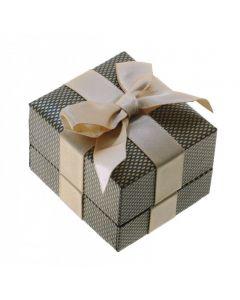 Коробочка подарункова з бантом для каблучки або пусет