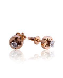 Золоті сережки гвоздики з діамантами «Одрі»