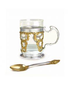 Серебряный подстаканник с чайной ложкой и позолотой