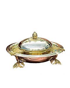 Срібна ікорниця з кришкою «Царська» з позолотою