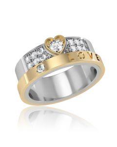 """Золотое обручальное кольцо с цирконием """"Love"""""""