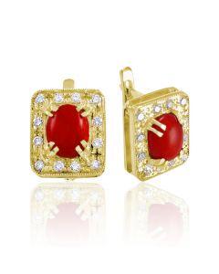 Золоті сережки з коралом «Лавина любові»