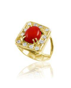 Золота каблучка з коралом «Лавина любові»