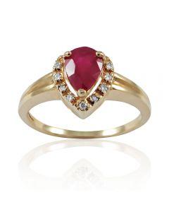 Золотое кольцо с рубином и бриллиантами «Исида»