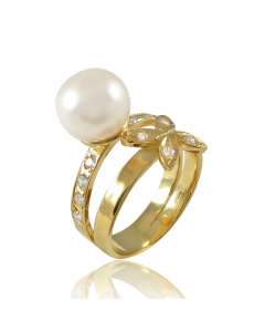 Золотое кольцо с жемчугом «Амаранта»