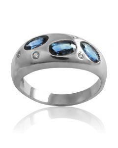"""Золотое кольцо с сапфирами и бриллиантами """"Озеро Виктории"""""""