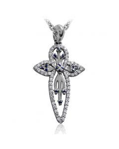 Крестик с бриллиантами и сапфирами «Вера»