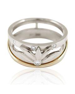"""Золотое обручальное кольцо с бриллиантами """"Цветок лотоса"""""""