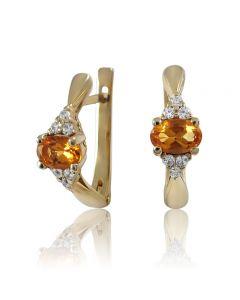 Золотые серьги с цитрином «Икона стиля»