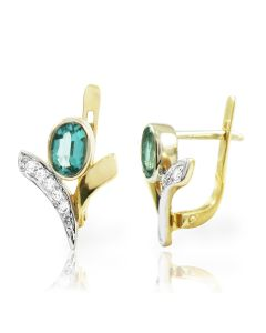 Серьги с бриллиантами и изумрудами «Изумрудный город»